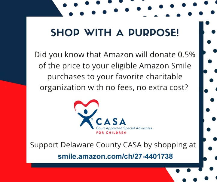 Shop with a purpose! Did you know that Amazon will donate 0.5% of the price to your eligible Amazon Smile purchases to your favorite charitable organization with no fees, no extra cost?